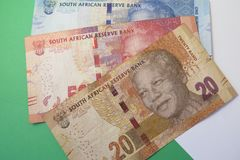 Exchange rate US dollar and South African rand Stock Images
