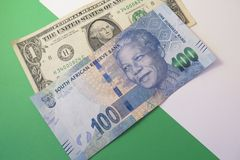 Exchange rate US dollar and South African rand Royalty Free Stock Photos