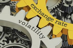 Exchange rate volatility concept on the gearwheels, 3D rendering. Exchange rate volatility concept on the gearwheels, 3D Stock Images