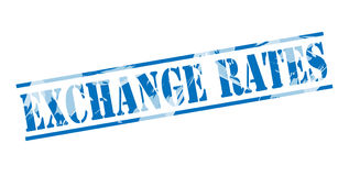 Exchange rates blue stamp Royalty Free Stock Images