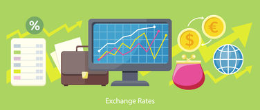 Exchange Rates Design Flat Concept. Exchange icon, currency and money exchange, foreign exchange, currency rates, business finance, money financial, web market Stock Photos