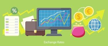 Exchange Rates Design Flat Concept Stock Photos