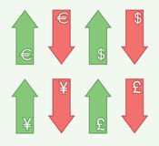 Exchange rates - trends. Set of vector arrows to show growth (decline) rates of major world currencies stock illustration