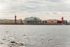 The Exchange and Rostral columns. Shot from the Neva river stock images