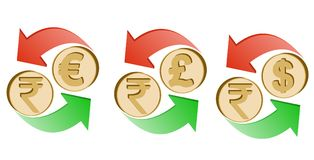 Exchange rupee to euro, pound sterling and dollar. Exchange indian rupee to euro, pound sterling and dollar on a white background , sign currency in the form Stock Photography
