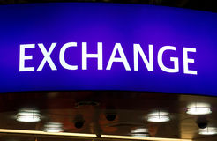 Exchange sign lightbox. At a bank Stock Photography