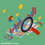 Exchange statistics, financial analytics, business diagram vector illustration. Exchange statistics, financial analytics, business diagram flat isometric vector Stock Photos