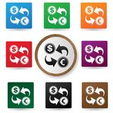 Exchange symbol,Colorful buttons Royalty Free Stock Images