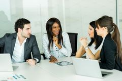 Exchange of thoughts during a business brainstorming Royalty Free Stock Photos