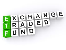 Exchange traded fund. ETF or exchange traded fund spelled with black, white and green plastic toy blocks on white Stock Photo