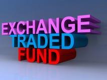 Exchange traded fund. Heading on blue background stock illustration