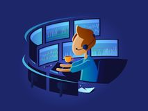 Exchange trader in workplace stock illustration