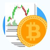 Exchange and trading of crypto currency. Finance money banking, virtual money graph emblem. Vector illustration Stock Images