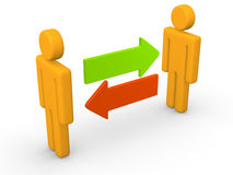 Exchange between two 3d men. 3d rendering Stock Images