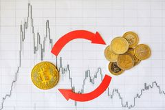 Exchange of virtual money bitcoin on euro coins. Red arrows and golden Bitcoin ladder on paper forex chart background. Concept of stock photos