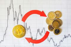 Exchange of virtual money bitcoin on handful euro coins. Red arrows and golden Bitcoin ladder on paper forex chart background. stock image