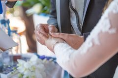 Exchange of Wedding Rings ahnd in hand royalty free stock photography