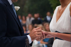 Exchange of wedding rings during the ceremony Royalty Free Stock Photography