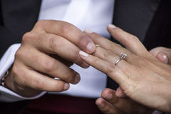 Exchange of wedding rings Royalty Free Stock Photo