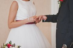 The exchange of wedding rings during the ceremony 8486. Royalty Free Stock Photo