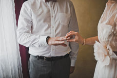 Exchange of wedding rings 1342. Royalty Free Stock Image