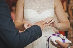 The exchange of wedding rings 7659. Royalty Free Stock Image