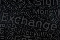 Exchange ,Word cloud art on blackboard.  stock photo