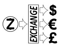 Exchange zcash to dollars,euro and British pound. Black and white concept design with word exchange in the middle Stock Image
