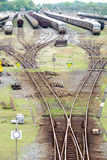 Exchanger and train convoy. Nice perspective stock image