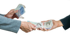 Exchanging british money pounds sterling Stock Image