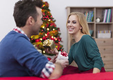 Exchanging Christmas gift Royalty Free Stock Image