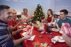 Exchanging christmas gifts Royalty Free Stock Image