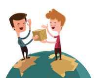 Exchanging gifts over the world  illustration cartoon character Royalty Free Stock Photo