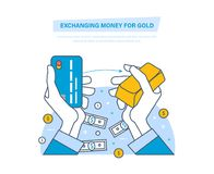 Exchanging money for gold concept. Buying gold. Financial transaction. Exchanging money for gold concept. Buying gold. Hands hold a bank card and an ingot of Royalty Free Stock Photos