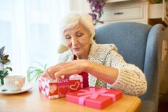 Exchanging Presents with Soulmate Stock Image