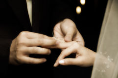 Exchanging of Rings. In a wedding ceremony Royalty Free Stock Images