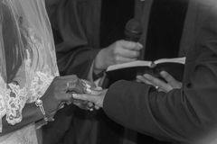 Exchanging rings at the alter Stock Photos