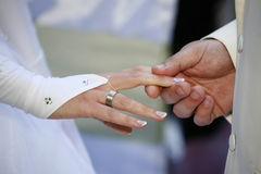 Exchanging rings Stock Image