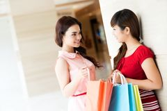 Exchanging shopping impressions Royalty Free Stock Photo