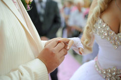 Exchanging of Wedding Rings Stock Photos