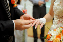 Exchanging of Wedding Rings Royalty Free Stock Photos
