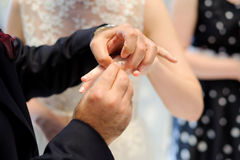 Exchanging Wedding Rings Stock Photo