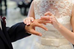 Exchanging Wedding Rings During Ceremony Stock Photo
