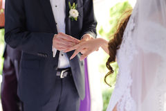 Exchanging Wedding Rings During Ceremony Royalty Free Stock Photos