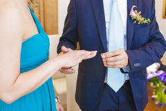 Exchanging of Wedding Rings Stock Photography