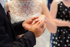Exchanging Wedding Rings Royalty Free Stock Photo