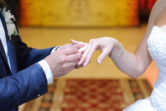 Exchanging Wedding Rings Royalty Free Stock Photos