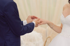 Exchanging Wedding Rings Stock Photography