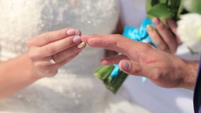 Exchanging  wedding rings Royalty Free Stock Photo