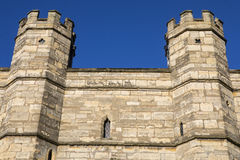 Exchequer Gate in Lincoln UK. A close-up shot of the turrets of Exchequer Gate in Lincoln, UK Royalty Free Stock Photography